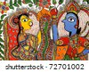A handicraft of Hindu God Krishna and Hindu Goddesses Radha. - stock photo