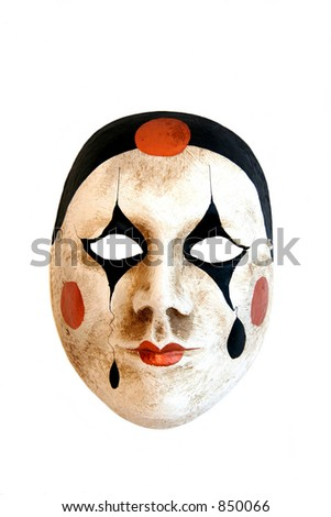 A handmade carnival mask from Venice on a white background. - stock photo