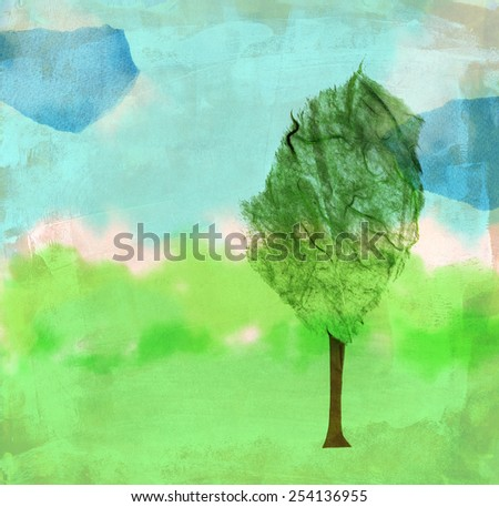 A handmade paper collage, consisting of a tree on a natural background - stock photo