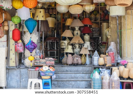 A handmade shop with products made from bamboo and woven rattan on the sidewalk of Hang Trong street, Hanoi, Vietnam. Handmade and handcraft products are very popular in Vietnam.