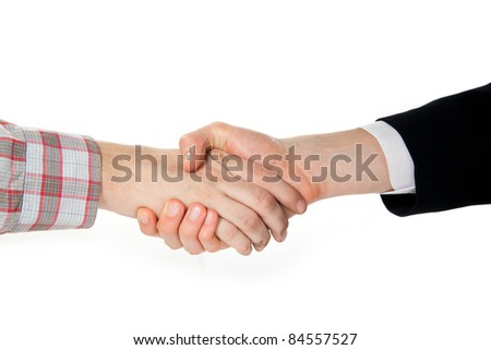a handshake between a farmer and a businessman - stock photo