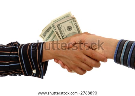 A handshake filled with cash