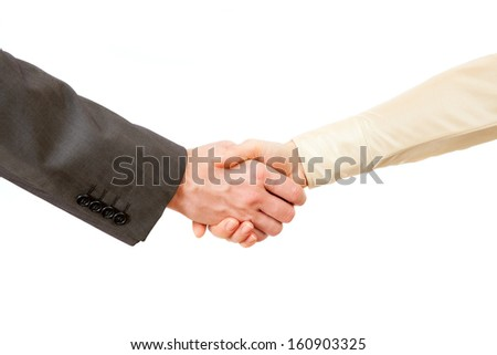 A handshake of businessman and businesswoman