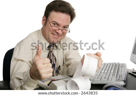 A handsome accountant or tax auditor giving the thumbs-up. - stock photo