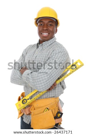 A handsome african american construction man isolated over white - stock photo