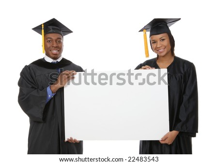 A handsome african american man and woman holding a sign