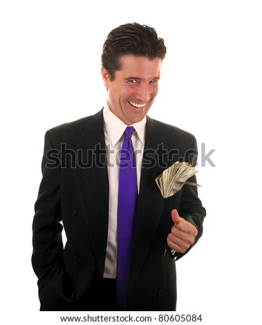 A handsome and ambitious business professional is happy about the lifestyle he will lead with the money he made at his job. - stock photo
