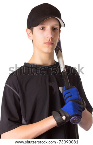 A handsome, athletic, teenage boy holding a baseball bat - stock photo