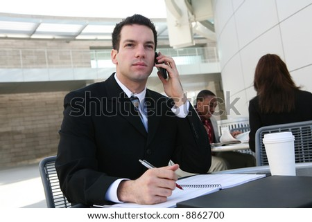 A handsome business man talking on the cell phone - stock photo