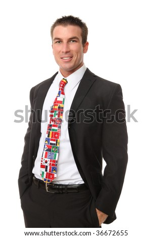 A handsome business man with global tie of many international ties