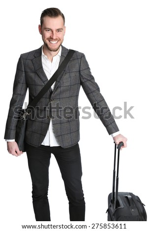 A handsome businessman holding a bag on a businesstravel, wearing a suit and shirt. White background. - stock photo