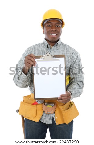 A handsome construction man holding a clipboard