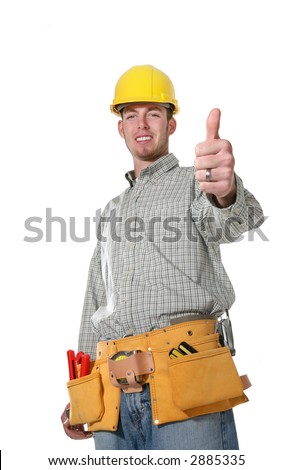 A handsome construction man with his thumbs up isolated over white (Focus on thumb) - stock photo