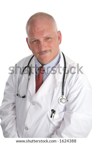 A handsome doctor, mature and wise, isolated against a white background.