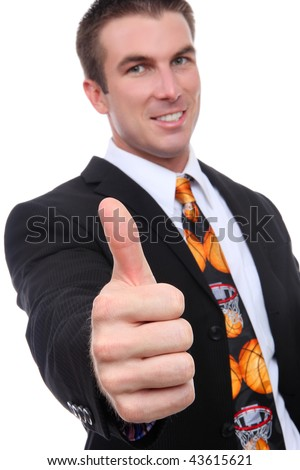 A handsome man coach with a basketball sport tie - stock photo