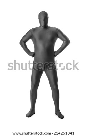A handsome man in a grey body suit isolated on a white background - stock photo
