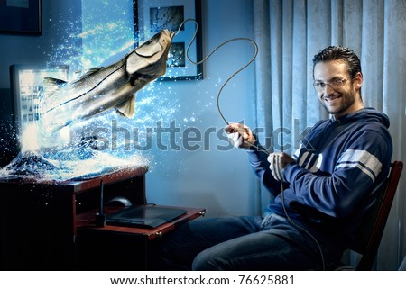 A handsome man sitting at the computer fishing a big fish on the lcd screen. This image is a digitally enahnced portrait enriched with details given by real photographs and hand/painted elements - stock photo