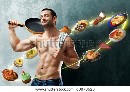A handsome muscular cook posing with a pan on his shoulder on a textured backgroung with food floating all around into a circle of lights - stock photo