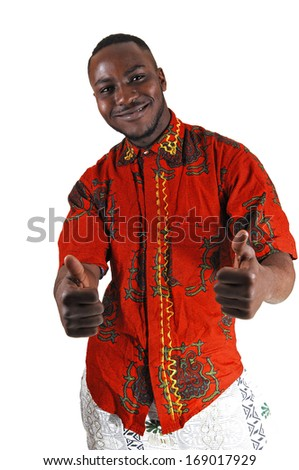 A handsome young black man in a colorful shirt and stretched out arms and thump up, for white background.