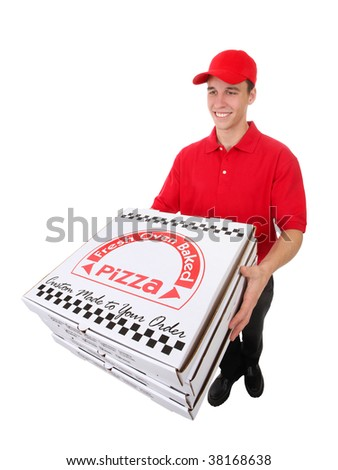 A handsome young man delivering pizzas isolated over white