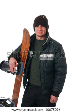 A handsome young man holding a snowboard
