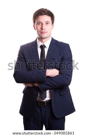 a handsome young man smiling pretty brunette in a dark business suit. Business portrait. business style. office. on a white background - stock photo