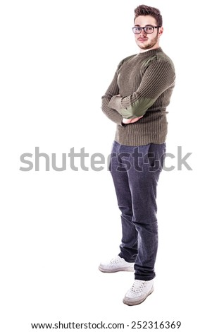 a handsome young man with winter clothes isolated over a white background - stock photo