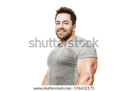 A handsome young muscular sports man . - stock photo