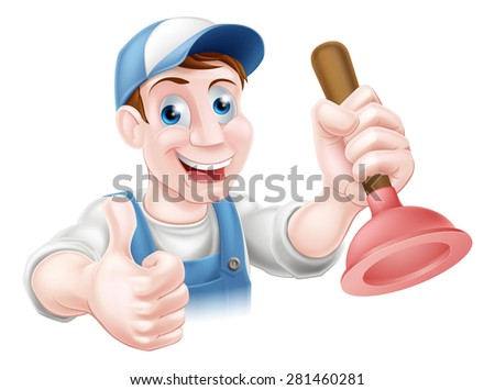 A handyman or plumber holding a sink or toilet plunger and doing a thumbs up - stock photo