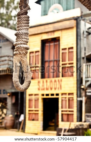 A hang rope in front of the saloon. - stock photo