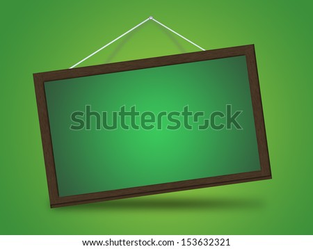 A hanging blackboard for advertising - stock photo