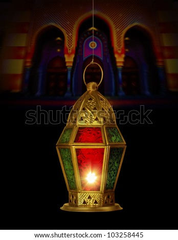 A hanging lamp against a mosque background - stock photo