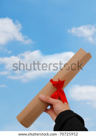 A happiness degree against blue sky - stock photo