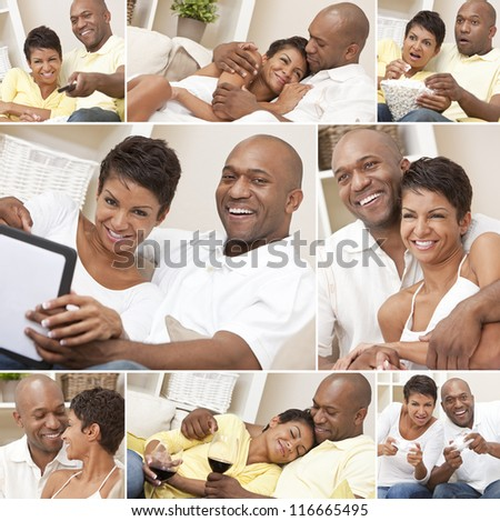 A happy African American man and woman couple in their thirties sitting at home, relaxing, drinking wine, playing video games and watching television - stock photo