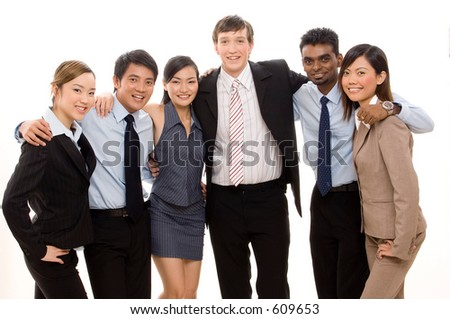 A happy and confident business team