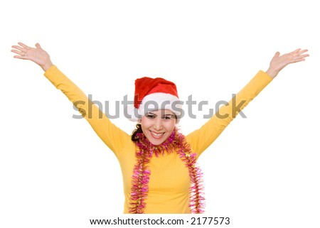 A happy asian girl in santa's hat, isolated on white - stock photo