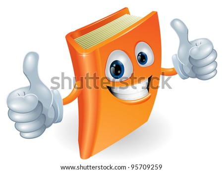A happy book cartoon character mascot illustration giving a double thumbs up
