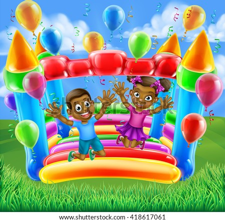 A happy boy and girl bouncing on a bouncy castle - stock photo