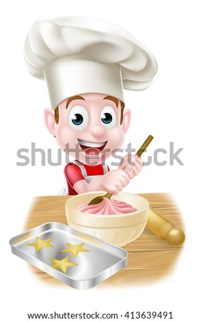 A happy boy baker in chefs hat stirring a bowl of cake mix with a wooden spoon - stock photo