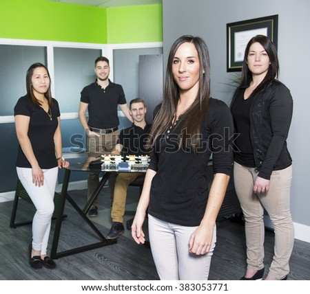 A Happy business team at the office
