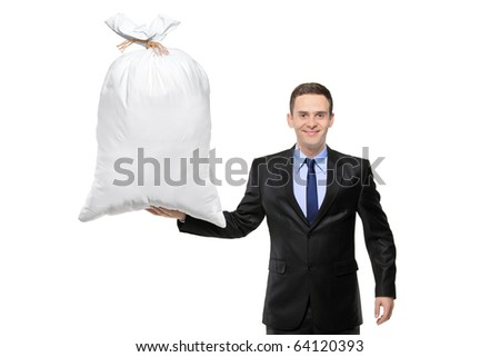 A happy businessman holding a bag with money isolated against white background - stock photo