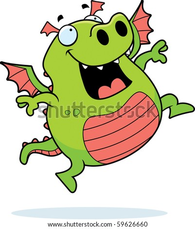 A happy cartoon dragon jumping and smiling. - stock photo