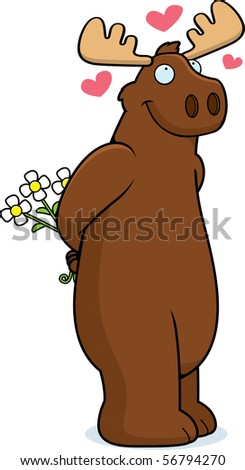 A happy cartoon moose in love and holding flowers. - stock photo