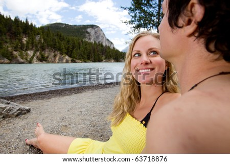 A happy couple on a holiday in Banff, Canada - stock photo