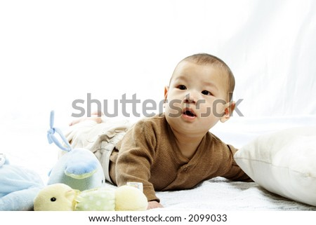 A happy cute baby boy (isolated white) - stock photo