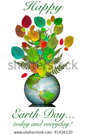 A Happy Earth Day Message featuring the earth as a vase full of plants and ferns, representing the beauty of the earth and it's growing bounty. - stock photo