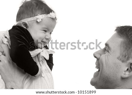 A happy family a father and newborn daughter. - stock photo