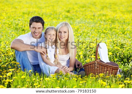 A happy family at a picnic in a field - stock photo