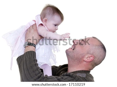 A happy family bonding together. Father and Daughter
