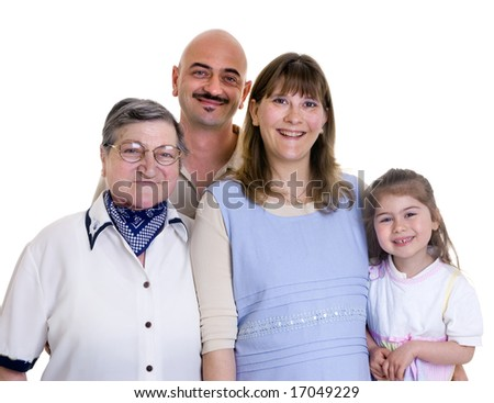 A happy family bonding together. Father , mother and Daughter